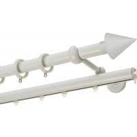 Κουρτινόξυλο διπλό με σιδηρόδρομο Λευκό Color Pop Zogometal Φ25mm CP4146