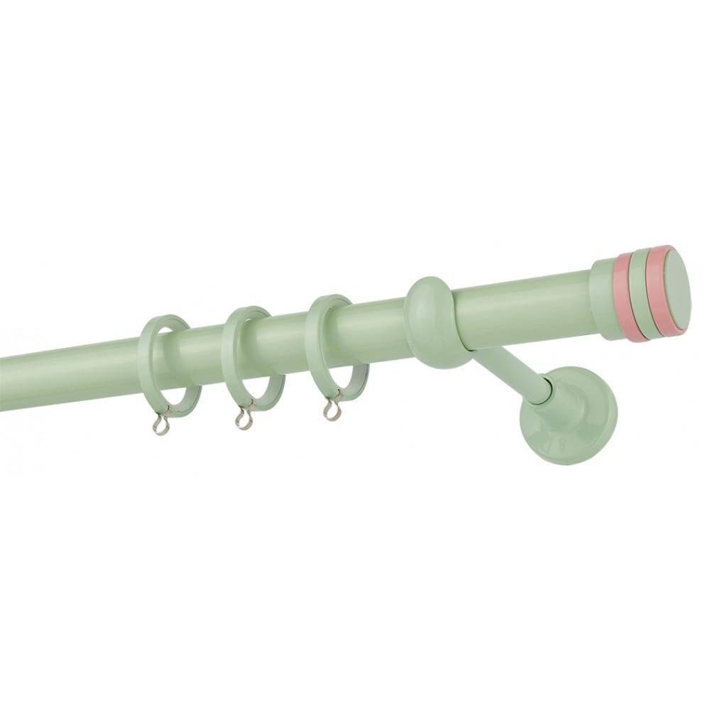 Κουρτινόξυλο μονό εφηβικό-παιδικό Φυστικί-Ροζ Color Pop Zogometal Φ25mm CP4132