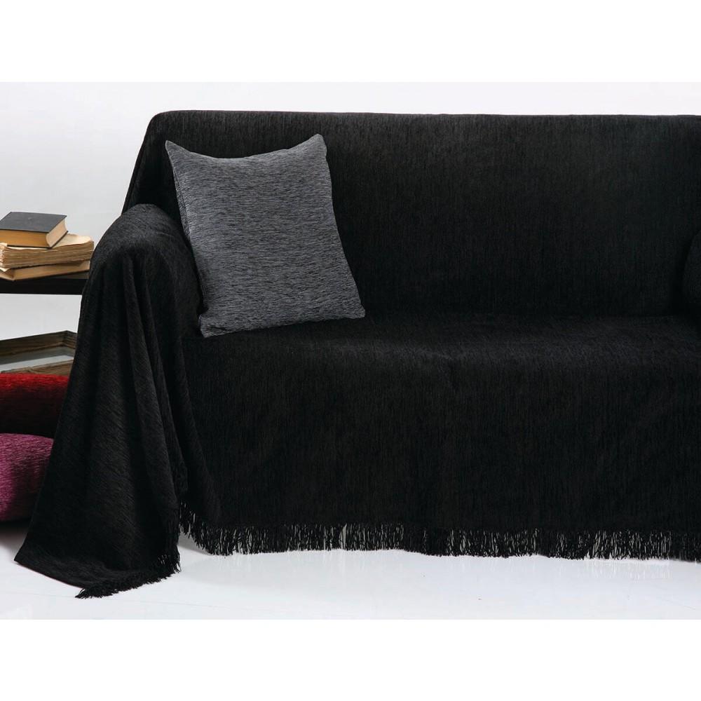 Ριχτάρια ζακάρ Chenille Unicolor Anna Riska 1300 Black