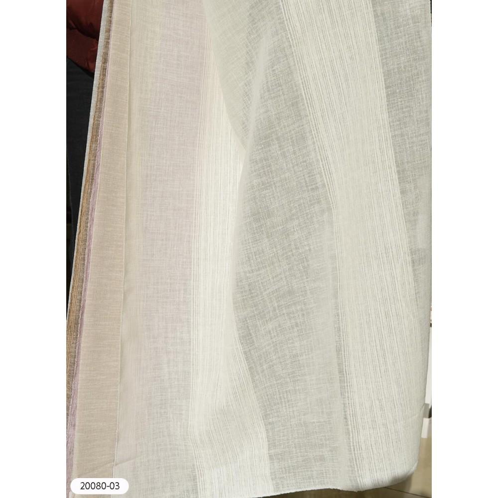 Κουρτίνα ριγέ ιβουάρ ημιδιάφανη με το μέτρο 20080-03 1