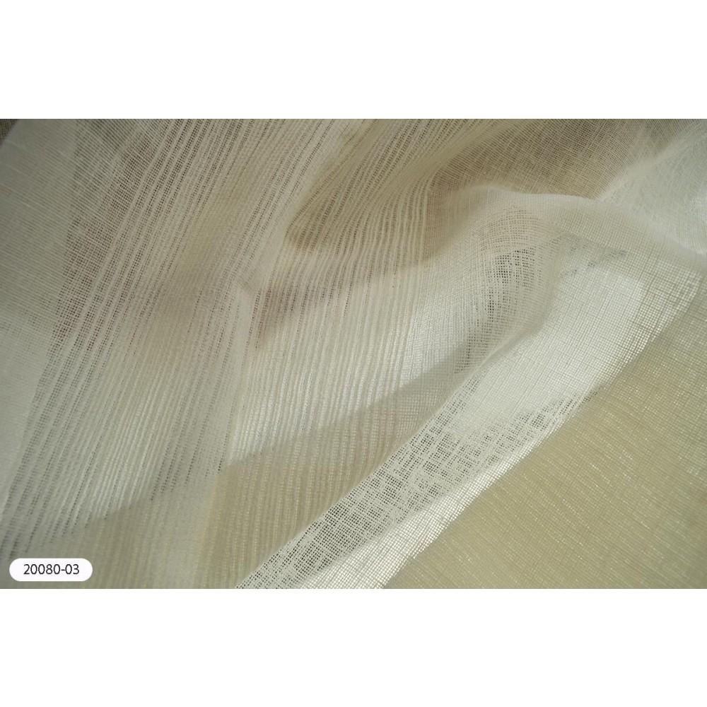 Κουρτίνα ριγέ ιβουάρ ημιδιάφανη με το μέτρο 20080-03