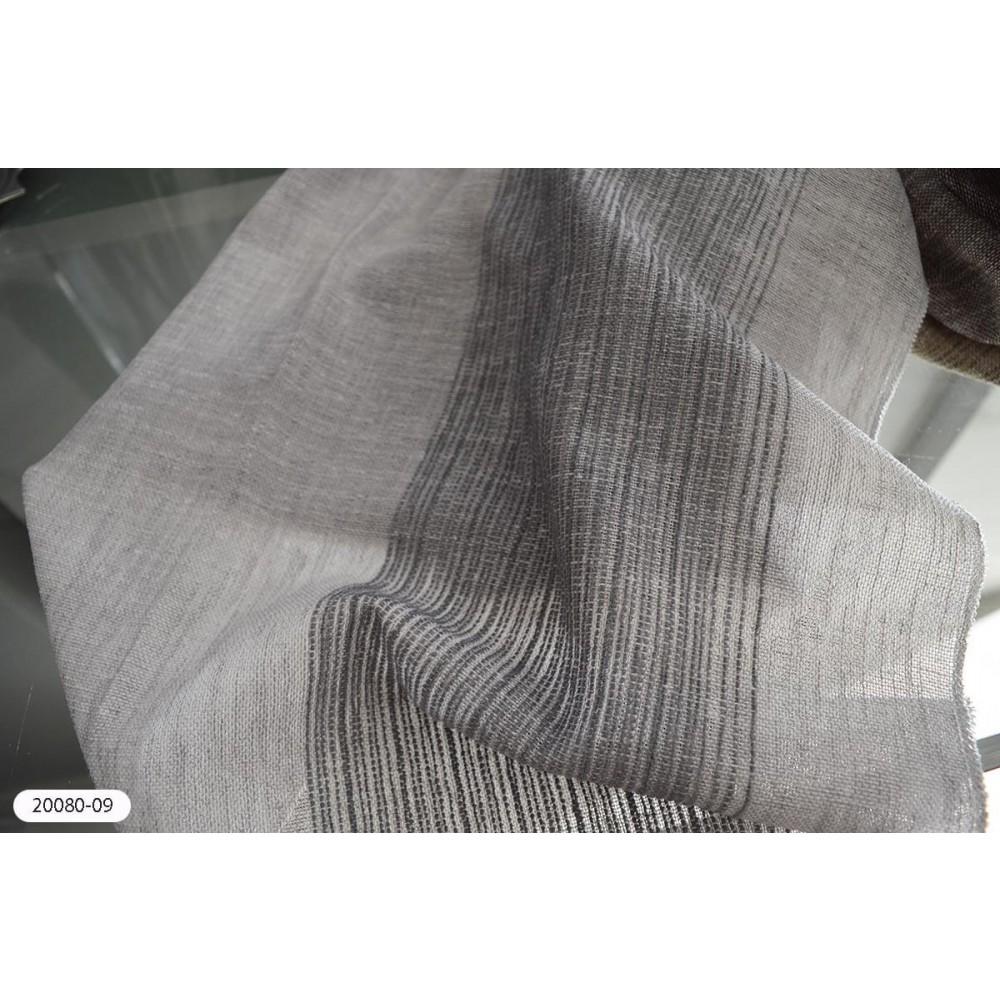 Κουρτίνα ριγέ γκρι ημιδιάφανη με το μέτρο 20080-09