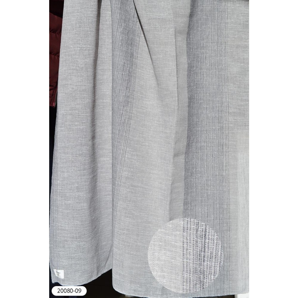 Κουρτίνα ριγέ γκρι ημιδιάφανη με το μέτρο 20080-09 1