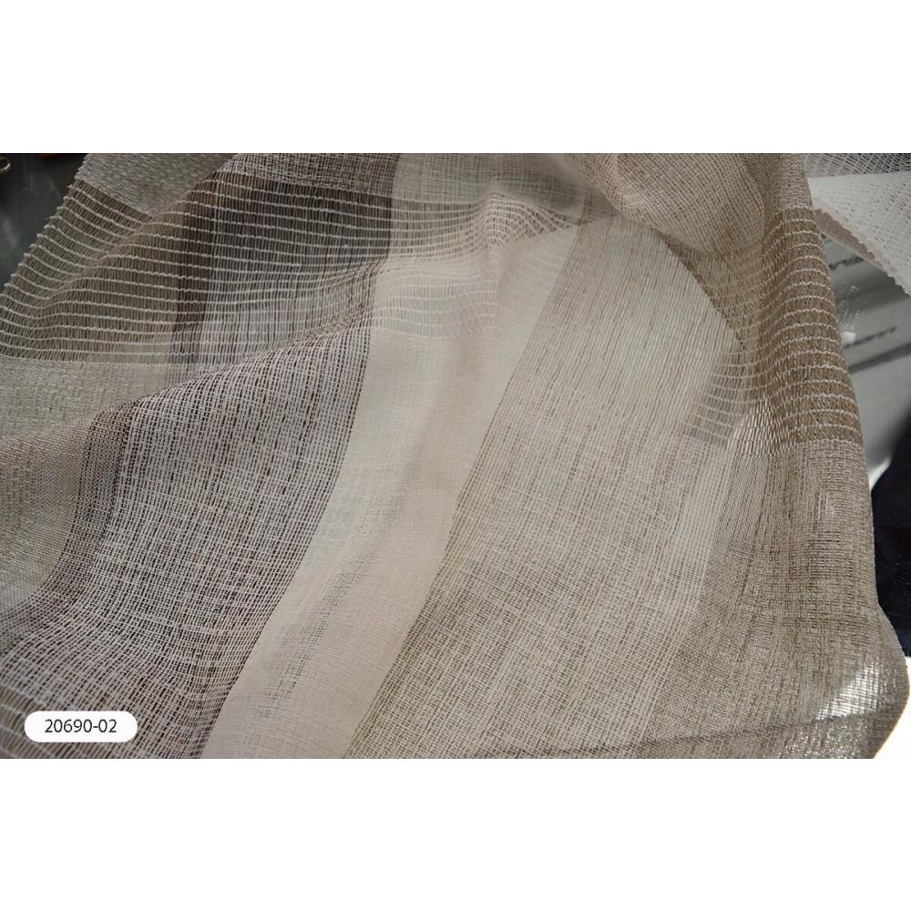 Κουρτίνα ριγέ καφέ ημιδιάφανη με το μέτρο 20690-02
