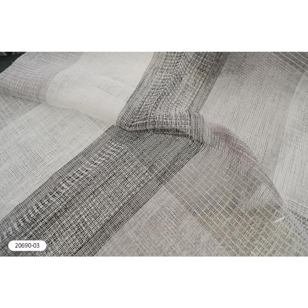 Κουρτίνα ριγέ γκρι ημιδιάφανη με το μέτρο 20690-03