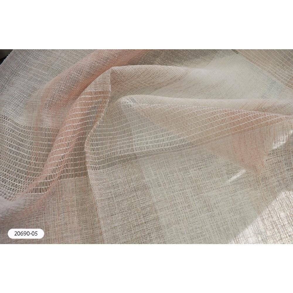 Κουρτίνα ριγέ ροζ ημιδιάφανη με το μέτρο 20690-05