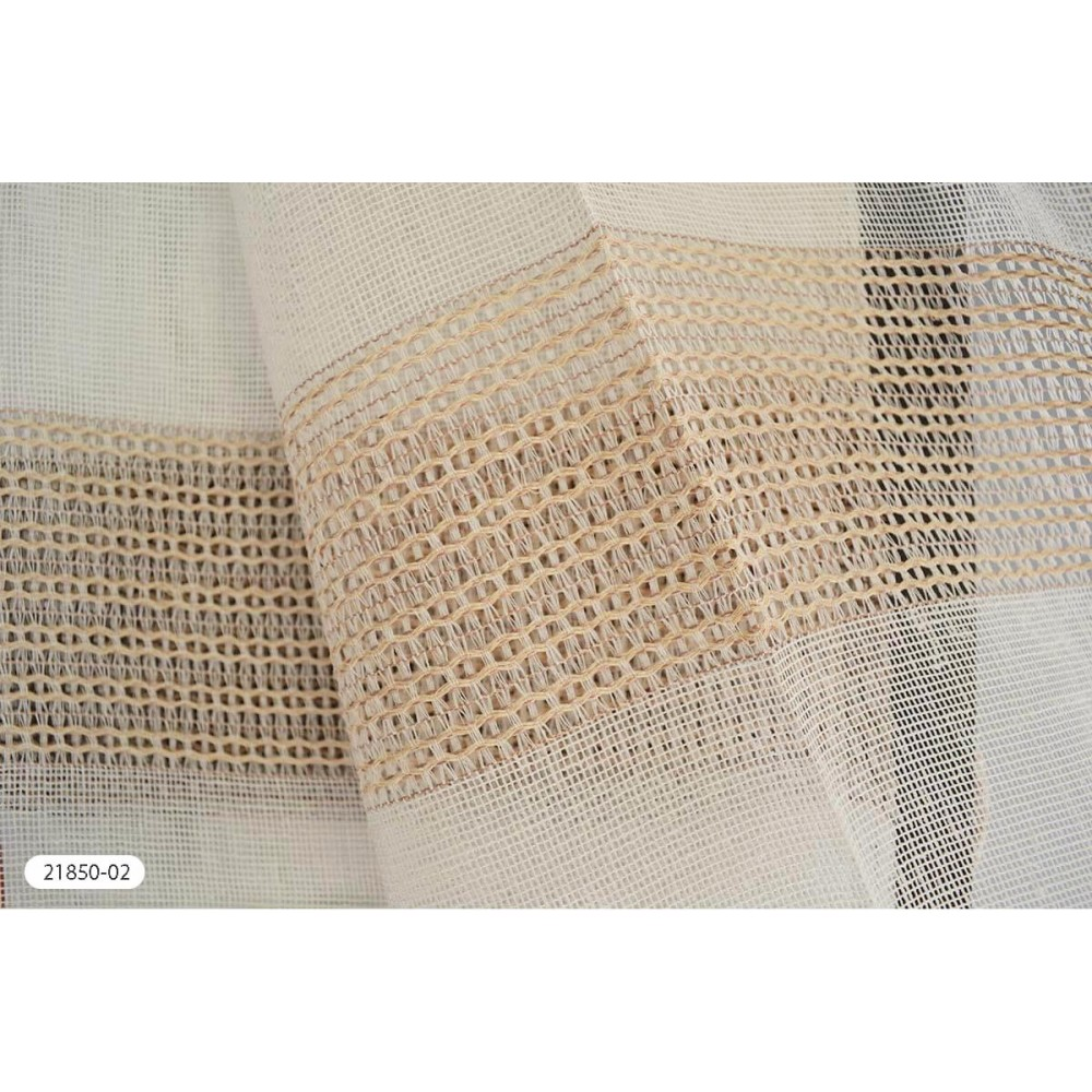 Κουρτίνα ριγέ μπεζ ημιδιάφανη με το μέτρο 21850-02