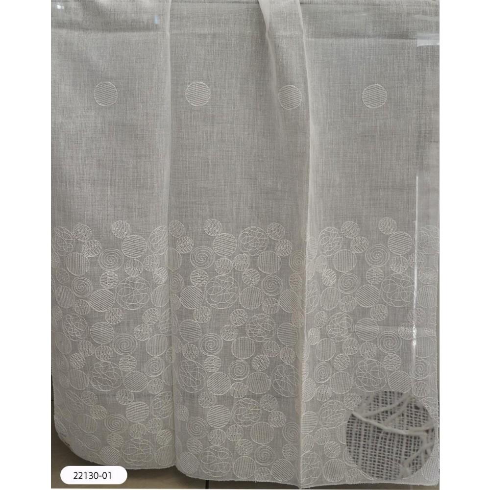 Κουρτίνες ιβουάρ κεντημένες με το μέτρο 22130-01