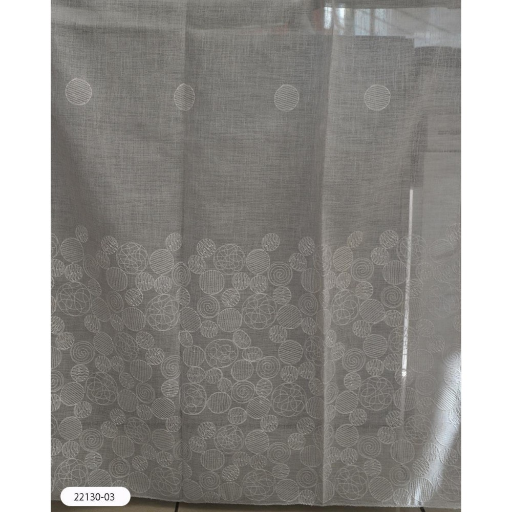 Κουρτίνες γκρι κεντημένες με το μέτρο 22130-03