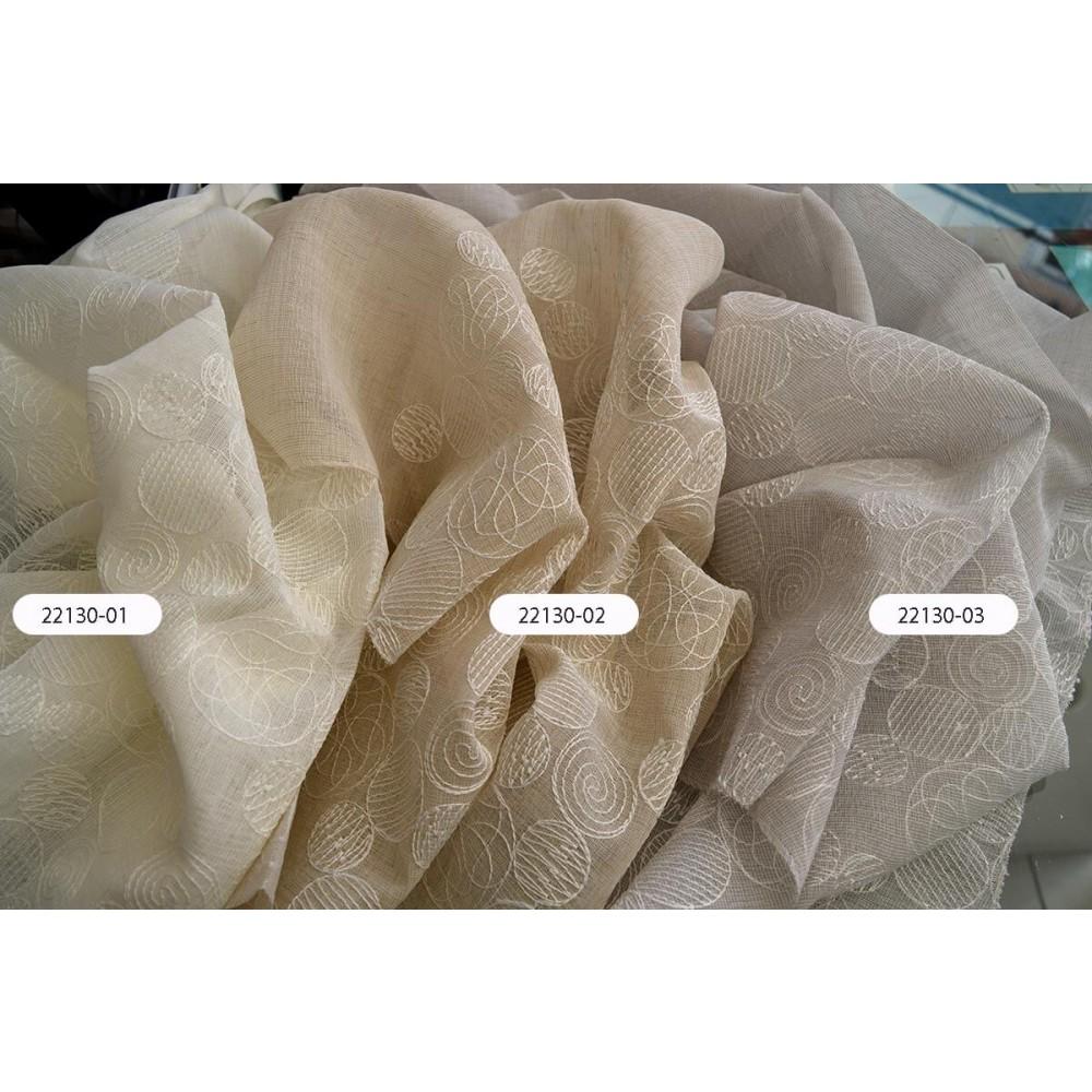 Κουρτίνες ιβουάρ κεντημένες με το μέτρο 22130-01 1