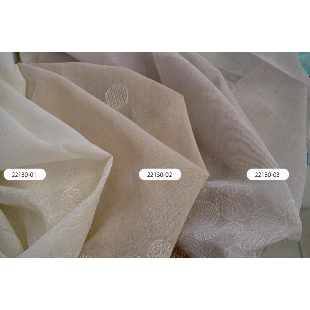 Κουρτίνες μπέζ κεντημένες με το μέτρο 22130-03 1