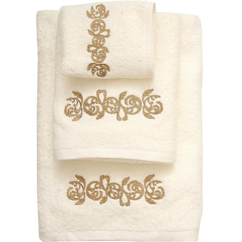 Πετσέτες σετ εκρού με κέντημα Viopros σχ 35