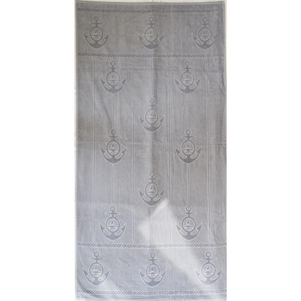 Πετσέτα θαλάσσης Anker grey βελουτέ 85x170cm