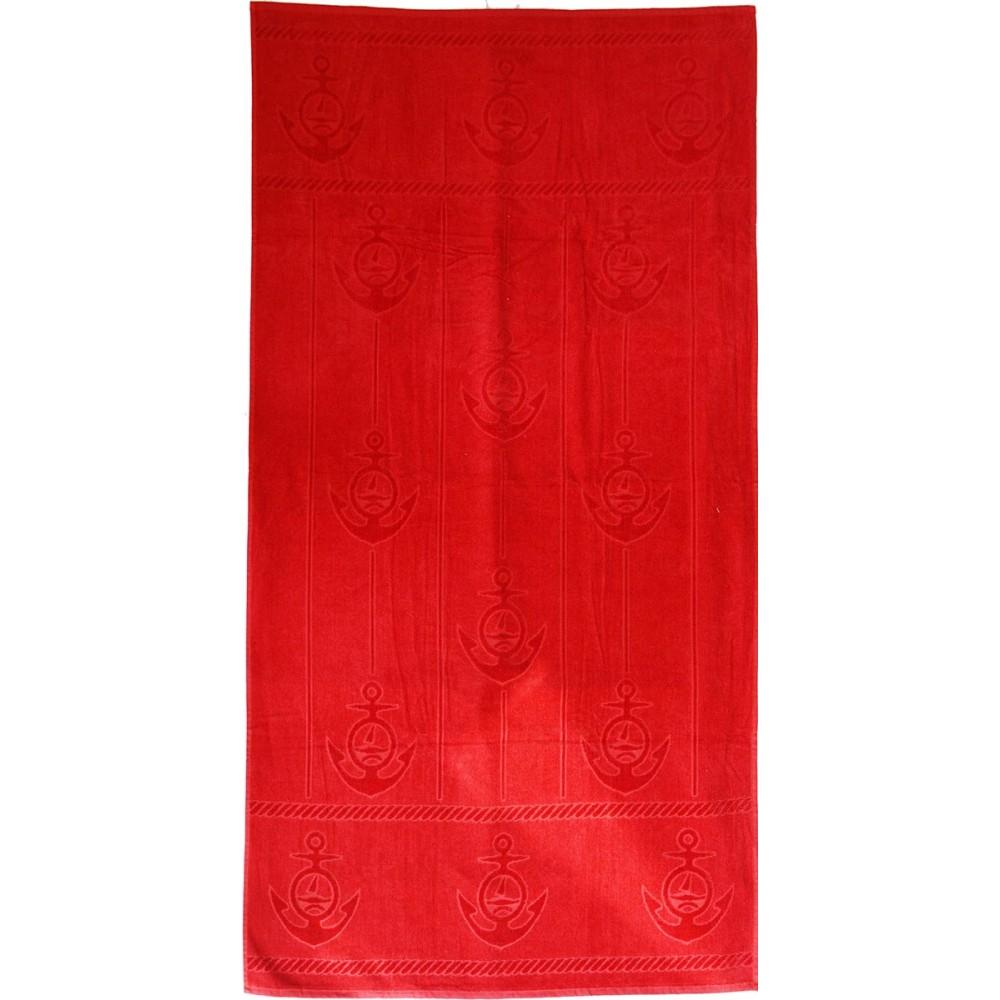 Πετσέτα θαλάσσης Anker red βελουτέ 85x170cm