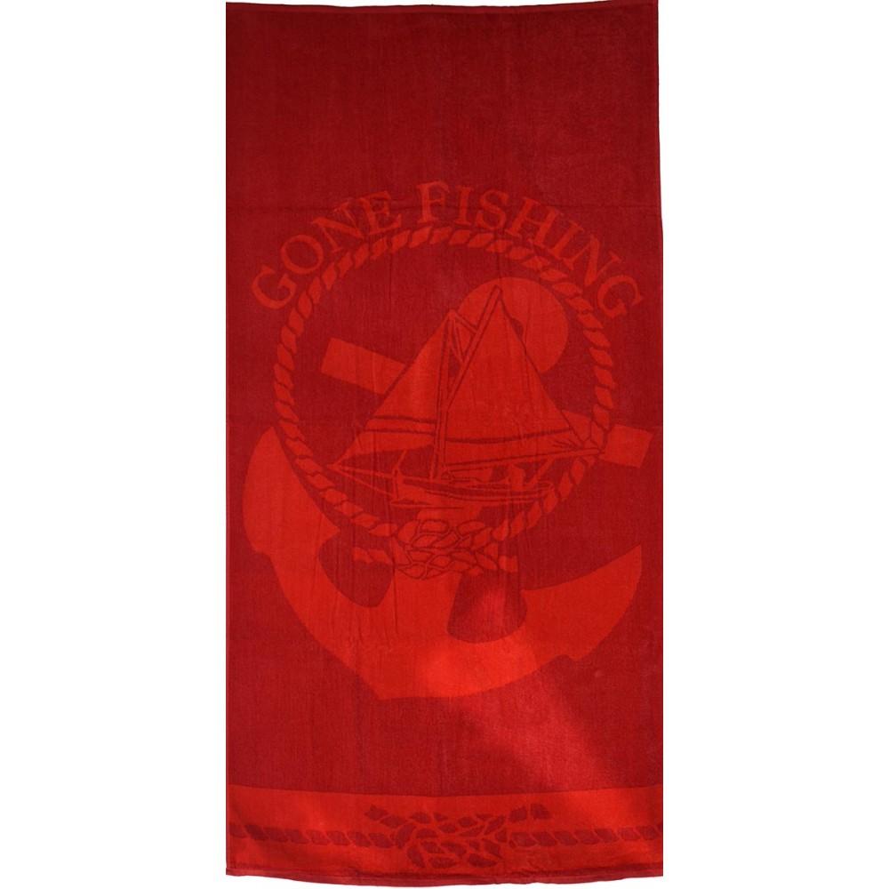 Πετσέτα θαλάσσης Cone fishing red βελουτέ 85x170cm
