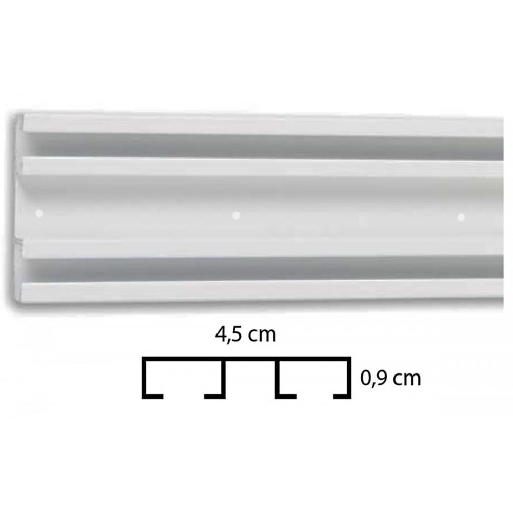 Σιδηρόδρομος αλουμινίου διπλός λευκός Δανίας απλός 4.5 cm