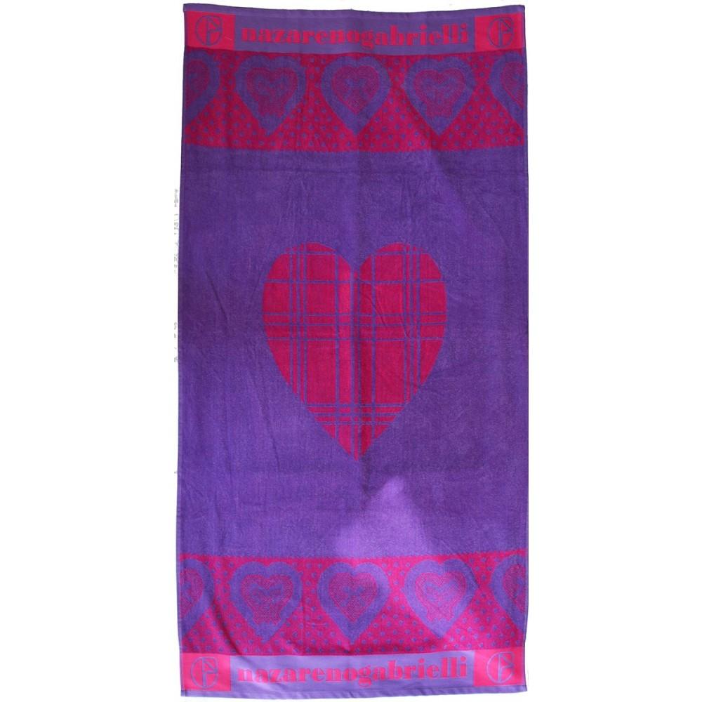 Πετσέτα θαλάσσης Heards lilac βελουτέ 85x170cm
