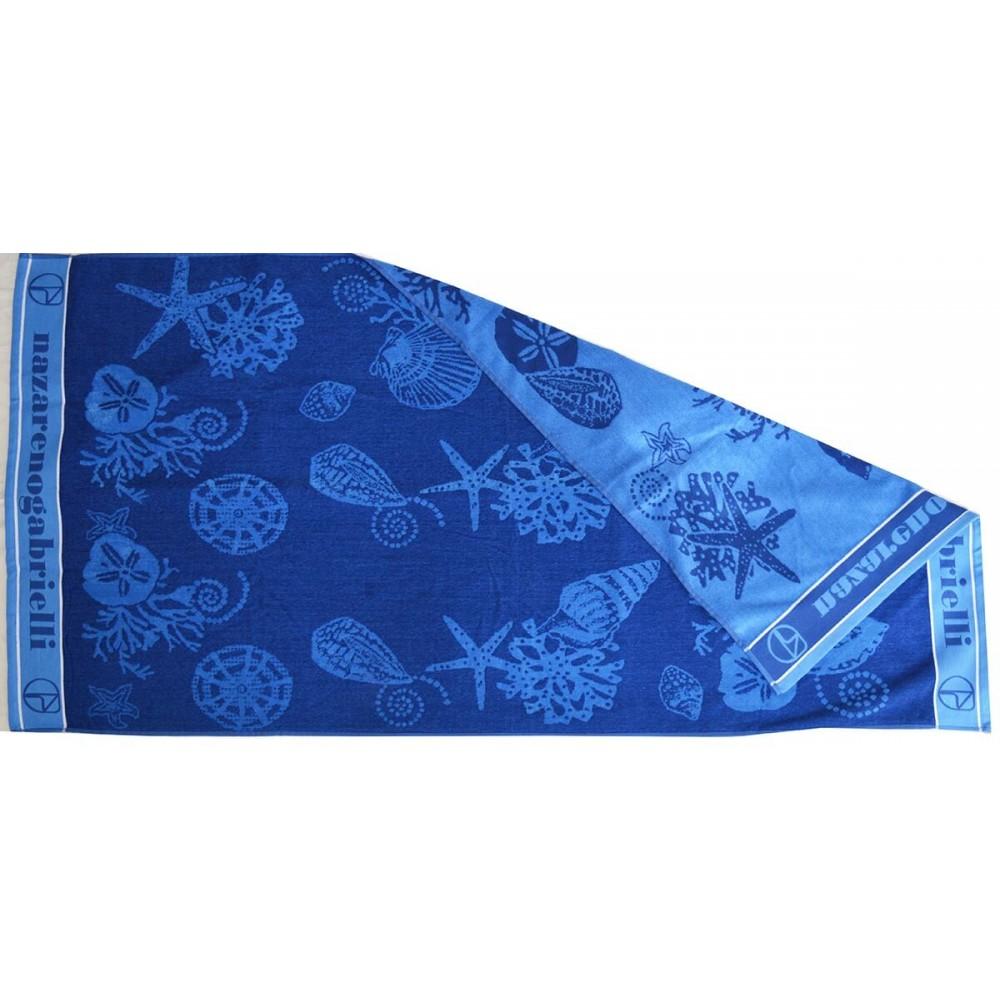 Πετσέτα θαλάσσης Shells blue βελουτέ_1